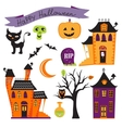Cute halloween elements collection vector image vector image