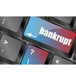 A keyboard with key reading bankrupt business vector image