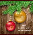 christmas balls with fir twigs and snow vector image