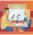 Man and woman sit near window at train restaurant vector image