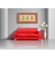 Realistic red sofa and flowerpot in living room vector image