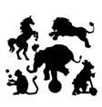 set of circus silhouette animals performance vector image