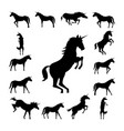 set unicorn silhouette vector image
