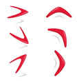 Red color boomerang different foreshortening vector image
