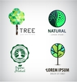 Set of green tree logos Eco organic vector image