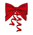 silk shiny red ribbon with holding bow vector image