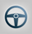 car driver sign  blue icon with outline vector image