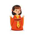 smiling girl wearing red dress national costume vector image