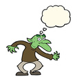 cartoon goblin with thought bubble vector image