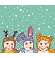 Baby animals costume winter and snow vector image