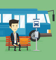 business man waiting at the bus stop vector image