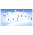 Fir trees over snowcapped landscape vector image