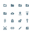 solid grey various file actions icons set vector image