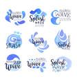 splash wave logo template set hand drawn vector image