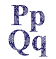 Uppercase and lowercase letters P and Q vector image