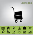hand truck sign  black icon at gray vector image