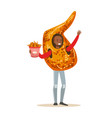 smiling man wearing fried chicken wing costume vector image vector image