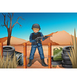 A soldier in the battlefield vector image vector image
