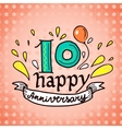 Anniversary sign 10 vector image vector image