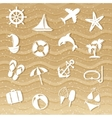 Beach with sea icons vector image