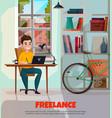 freelancer during work vector image