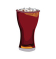 glass of cola with ice cubes drink soda vector image