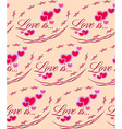 Love is Red heart Valentines day seamless pattern vector image