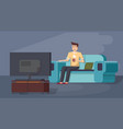 man enjoying tv watching sitting on couch vector image