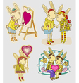 set of funny hare vector image