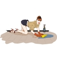 girl washes the floor vector image