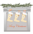 Merry Christmas fireplace vector image