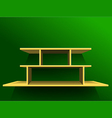 Shelf on green wall1 vector image vector image
