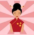 japanese woman folk-art maiden cute kokeshi vector image
