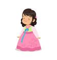 little girl wearing pink dress national costume vector image