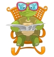 Funny Turtle Reading vector image
