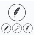 Feather retro pen signs Brush and pencil icons vector image