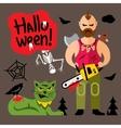 Comic Crazy maniac Halloween Scene Cartoon vector image