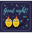 couple of cute owls with hats on the tree vector image