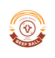 Fresh beef ball logo with cow noodle and bowl vector image