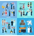 Human Trafficking 4 Flat Icons Square vector image