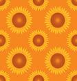 seamless sun flower pattern orange background vector image