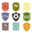 Set of sports labels with soccer football symbols vector image