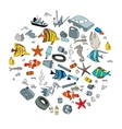 Water pollution in the ocean Garbage and waste vector image