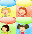 Speech bubbles and cute girls vector image