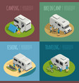 recreational vehicles concept icons set vector image