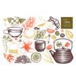 tea sketch collection vector image