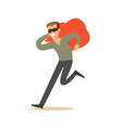 thief in a black mask carrying an orange bag vector image vector image