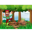 A forest with a happy and a hardworking woodman vector image