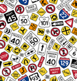 Seamless pattern of cartoon american road signs vector image