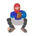 Baseball catcher cartoon icon vector image